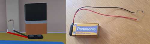 9V battery and resistor in Short Circuit VR and a real 9V battery with a 1000Ohm resistor