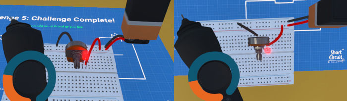 screenshots of side view and top view of a possible solution for challenge 5