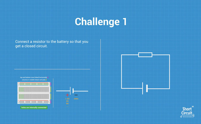 tablemat with challenge 1 description, extra info and circuit diagram
