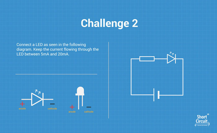 tablemat with challenge 2 description, extra info and circuit diagram