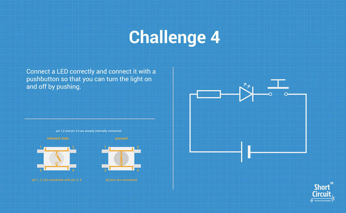 tablemat with challenge 4 description, extra info and circuit diagram