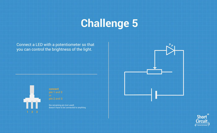 tablemat with challenge 5 description, extra info and circuit diagram