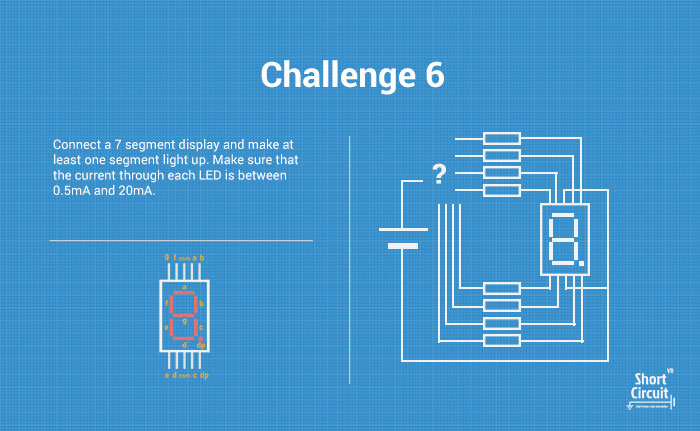 tablemat with challenge 6 description, extra info and circuit diagram