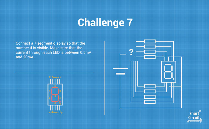 tablemat with challenge 7 description, extra info and circuit diagram